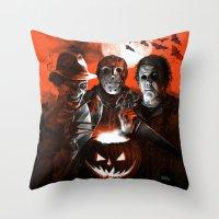 michael myers Throw Pillows featuring Freddy Krueger Jason Voorhees Michael Myers Super Villians Holiday by Scott Jackson Monsterman Graphic