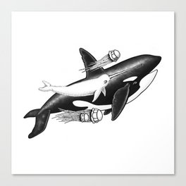 Killer Whale and Fuzzy Narwhal  Canvas Print