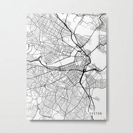 Boston Map, Massachusetts USA - Black & White Portrait Metal Print
