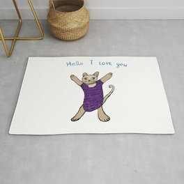 Cat Drawing ,Hello I love You,Cat art Rug