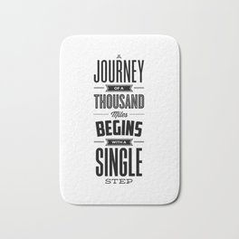 A Journey of a Thousand Miles modern black and white minimalist typography home room wall decor Bath Mat