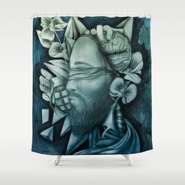 Chaotic Disorders ONE - Deep Turquoise Shower Curtain