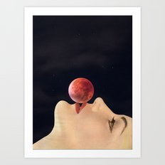 first kiss (to the moon) Art Print