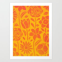 ORANGE FLOWERS CANVAS STENCIL PATTERN Art Print