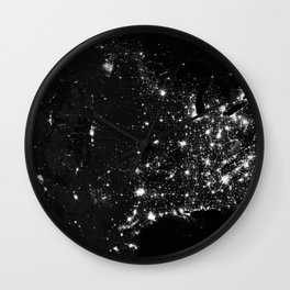 The Lights of the USA (Black and White) Wall Clock