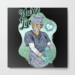 Nurse funny quote gift birthday christmas saying Metal Print