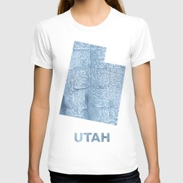 Utah map outline Light steel blue blurred wash drawing T-shirt