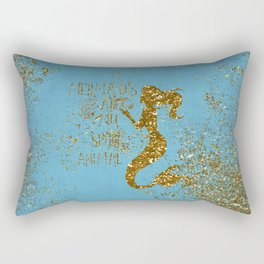 Glitter Typography - Mermaids Are My Favorite Animal Rectangular Pillow