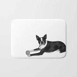 Fetch Boston Terrier B/W Bath Mat