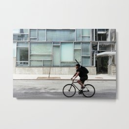 Cyclist riding in New York City Metal Print