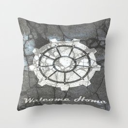 Fallout inspired welcome home, vault door, print, poster, wall art, neutral Throw Pillow