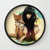 fox Wall Clocks featuring Fox Love by Ariana Perez