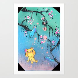 A Happy Moment in the Woodland Forest Art Print