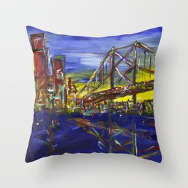 Philly Skyline with Ben Franklin Bridge Throw Pillow