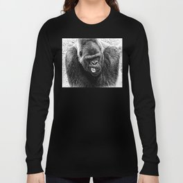Male Silverback Lowland Gorilla with Smirk and Lettuce in Mouth Vintage Black and White Long Sleeve T-shirt