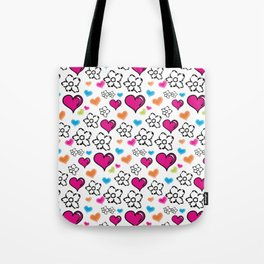 Pink Hearts and Flowers Tote Bag