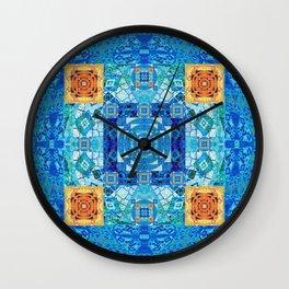 Boho Moroccan Tile Fractal Mandala Wall Clock