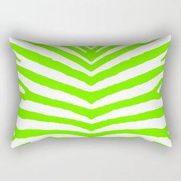 Neon Green and White Tropical Zebra Safari Stripes Rectangular Pillow