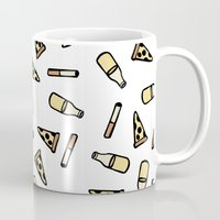 cigarettes Mugs featuring PIZZA, BEER, CIGARETTES by STUPIDGUMMIDREAMS