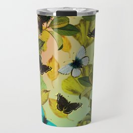 Vintage Ginkgo Leaves and Butterflies Travel Mug
