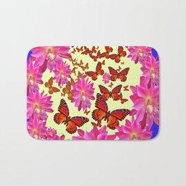 Blue & Yellow Butterflies  Pink Flowers Pattern Art Bath Mat