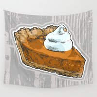 pie Wall Tapestries featuring Pumpkin Pie by Katy V. Meehan