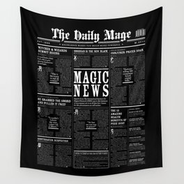 The Daily Mage Fantasy Newspaper II Wall Tapestry