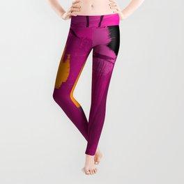 Purple abstract painting F06 pink black orange Digital painting Leggings