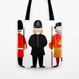 London Uniforms and Moustaches Tote Bag