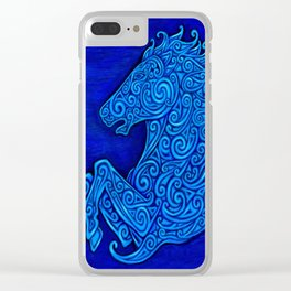 Blue Celtic Horse Abstract Spirals Clear iPhone Case