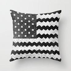 Black Zig Zag Flag Throw Pillow