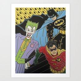 Bat and joker Art Print