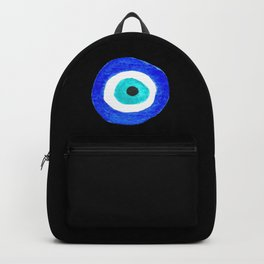 Single Evil Eye Amulet Talisman Ojo Nazar - on black Backpack