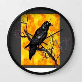 Grey & Gold Pattern  Crow Wildlife Art Wall Clock