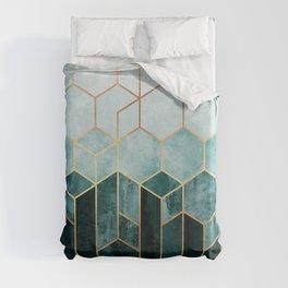 Teal Hexagons Duvet Cover