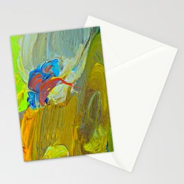 Abstract Red Lark Over The Green And Yellow Fields Stationery Cards