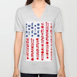 Fourth Of July Celebration USA Flag Unisex V-Neck