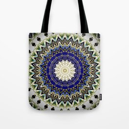 Bohemian Bright Blue and Gold Mandala Tote Bag