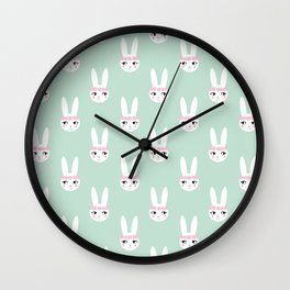 Bunny Rabbit mint spring cute character illustration nursery kids minimal floral crown Wall Clock