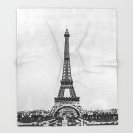 Eiffel tower in B&W with painterly effect Throw Blanket