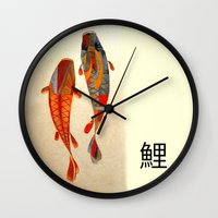 rose Wall Clocks featuring Kolors Koi by Fernando Vieira