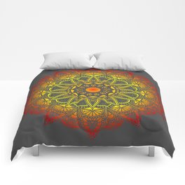 Vivid Fire Watercolor Mandala Comforters