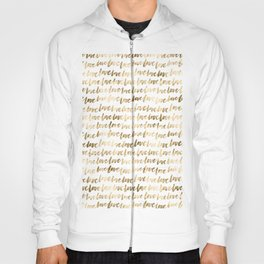Gold Love Quote Pattern Typography Script 3 Hoody