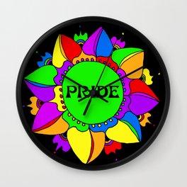 Rainbow Pride Mandala - Black Background Wall Clock