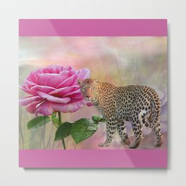 The Rose and the Leopard Metal Print