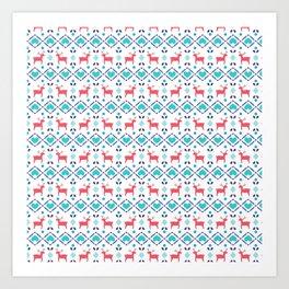 Deers & Hearts Pattern Art Print