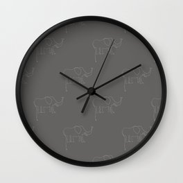 Line Elephant March (Grey) Wall Clock