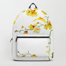 yellow Oncidium Orchid watercolor Backpack