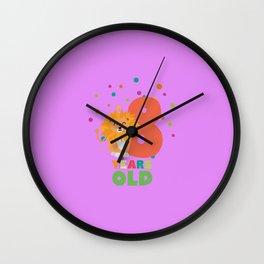 Eight Years 8th Birthday Party Lion T-Shirt Dgwku Wall Clock