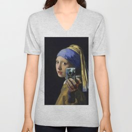 The Girl With The Pearl Earring Taking a Selfie portrait painting by Jan Vermeer & Mitchell Grafton Unisex V-Neck